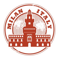 Grunge rubber stamp with words Milan, Italy inside, vector