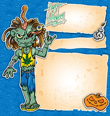 zombie rock cartoon background