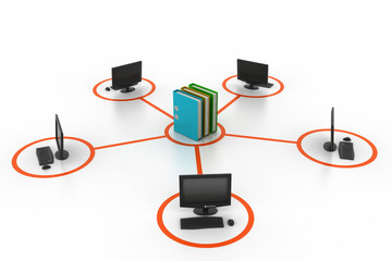 computer and documents network.