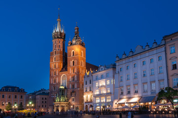 The Main Market Square in Krakow with St. Mary's Basilica
