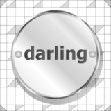 word darling on metallic button poster