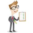 Businessman, clipboard, checklist, pencil, tick off
