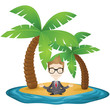 Businessman, beach, vacation, yoga, relaxing