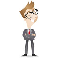 Businessman, cross-armed, winking,