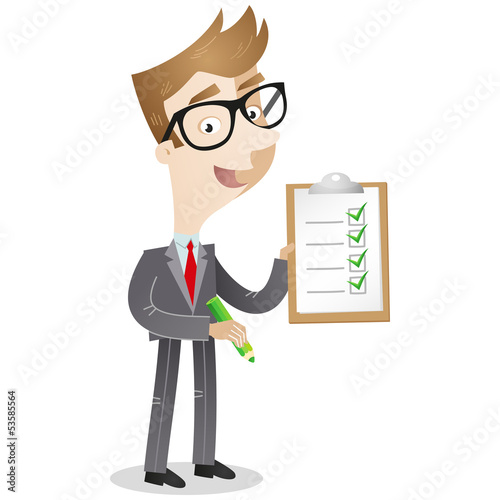 Businessman, clipboard, checklist, pencil, tick off