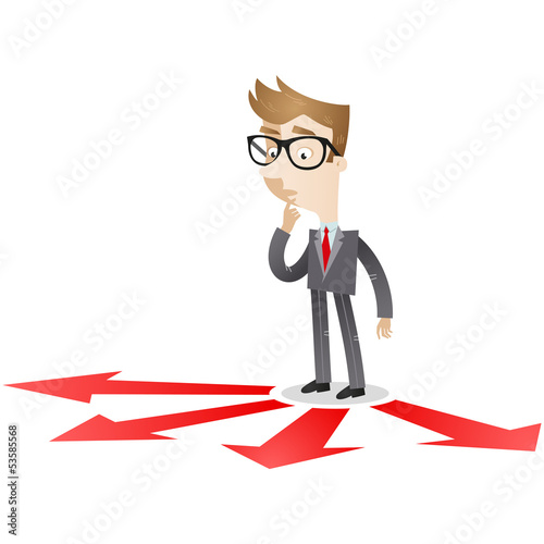 Businessman, arrows, directions, decision, choice