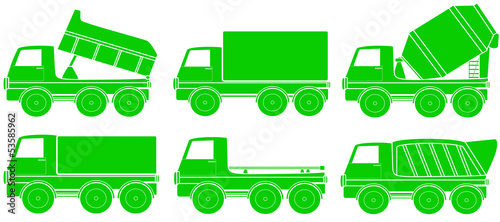 green set of construction transport silhouette