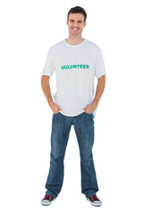 Attractive man wearing volunteer tshirt