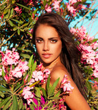 fresh woman beauty in flowers