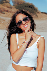 happy summer woman with sunglasses