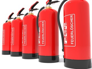 Feuerlöscher in Reihe