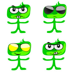 funny green people vector art illustration
