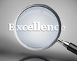 Magnifying glass showing excellence word in white