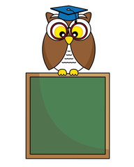 back to school. Owl with glasses and graduation cap