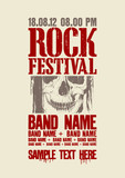 Rock festival design with skull and place for text