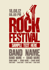 Rock festival design template with bass guitar