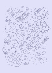 ector illustraition of various pills, hand drawn design set