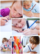 Collage of cute children coloring