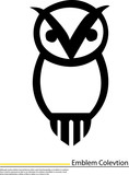 illustration of emblem owl sitting on white background