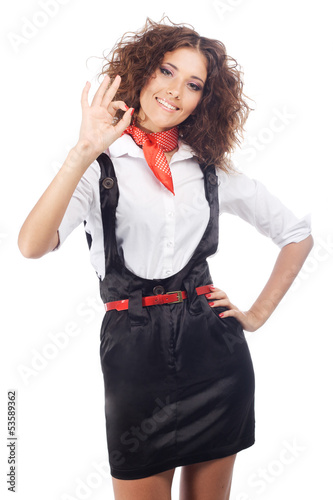 Lovely woman showing ''ok'' sign