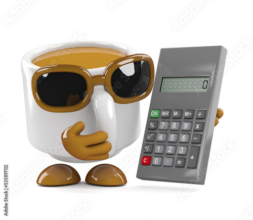 Coffee cup calculates the bill