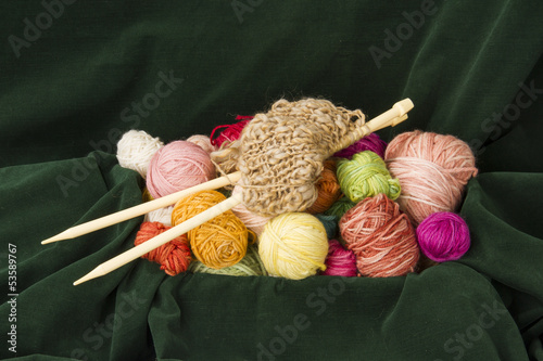 knitting needle and wool
