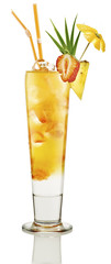 cocktail with ice strawberry and pineapple in a long drink glass