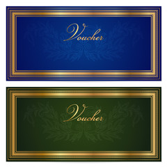 Gift certificate / Voucher / Coupon template. Gold border