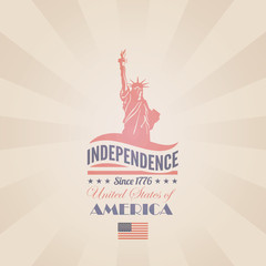 USA Independence day vector design template. Liberty statue