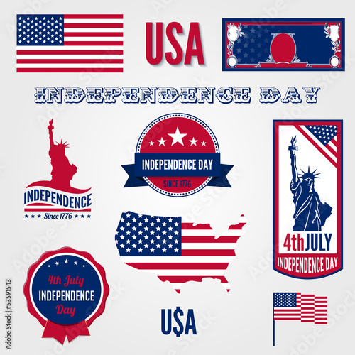 USA Independence day vector design template elements.
