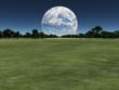 Terraformed moon over earth landscape or alien planet