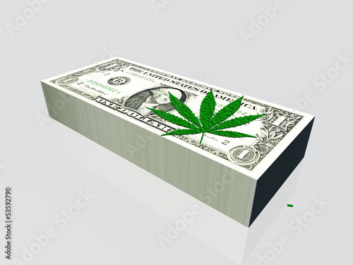 Pile of US currency and marijuana leaf