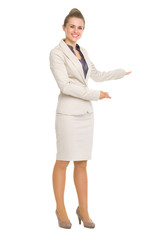 Happy business woman inviting to come