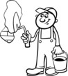 worker with trowel coloring page