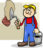 worker with trowel cartoon illustration