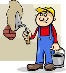 worker with trowel cartoon illustration