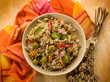 spelt sald with vegetables and ham