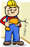 worker with drill cartoon illustration