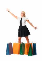 blonde Frau im Kaufrausch