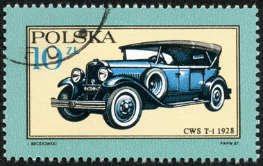 stamp printed in Poland shows Car CWS T-1 - 1928
