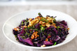 Red cabbage cooked with raisins, walnuts and thyme