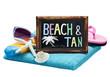 blackboard with the word beach and tan