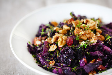 Red cabbage or red kraut with walnuts, raisins and herbs