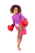 Little muay thai boxing girl using her knee