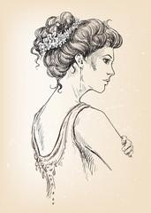 Beautiful girl. Bride. Bridal hair.