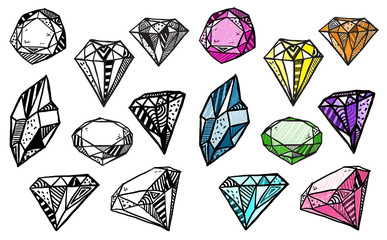 Diamonds. Set of doodle crystals.