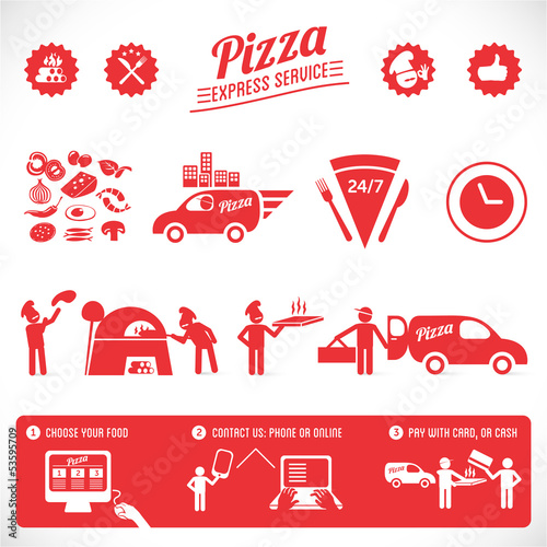 pizza graphic elements, online service, food order