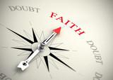 Faith versus doubt, religion or confidence concept poster
