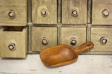 empty rustic wooden scoop