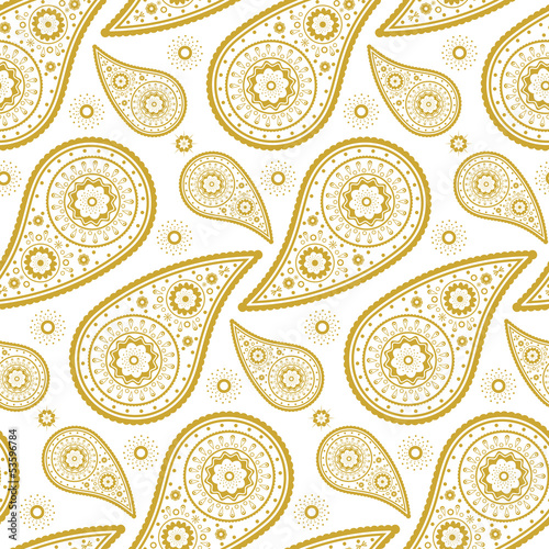 Pattern paisley golden and white